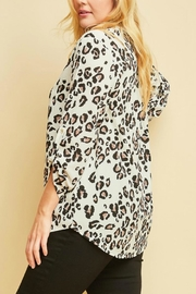 Entro Plus-Size Lorpard-Print Vneck-Top - Front full body