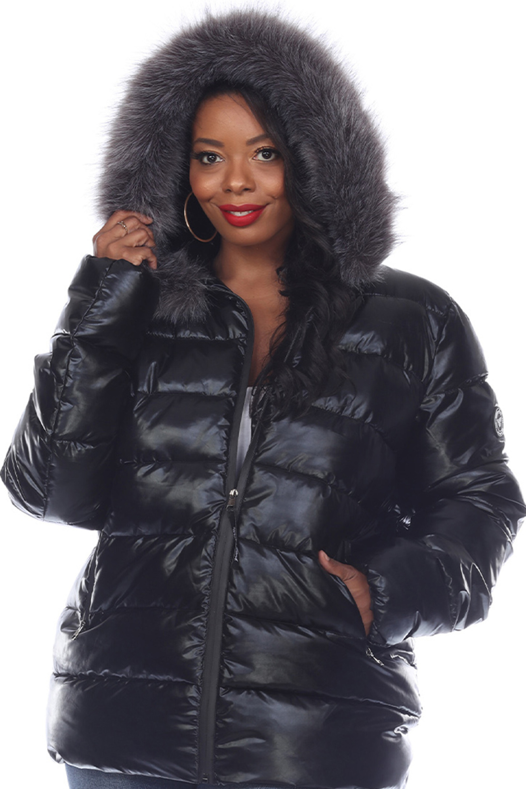 White Mark  Plus Size Metallic Puffer Coat with Hoodie - Front Cropped Image