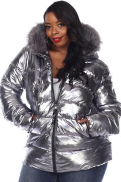 White Mark  Plus Size Metallic Puffer Coat with Hoodie - Product List Image