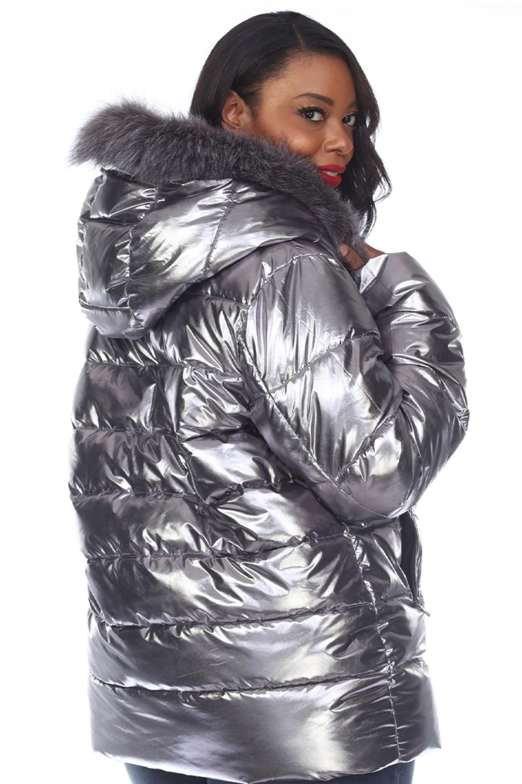 White Mark  Plus Size Metallic Puffer Coat with Hoodie - Front Full Image