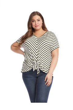 Karen Kane Plus Size Olive Stripe Tie-Front Top - Alternate List Image