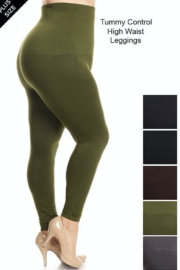 Tiny House of Fashion PLUS Size Tummy Control High Waist Leggings - Product Mini Image