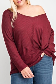 143 Story PLUS SIZE TWIST FRONT V NECK LONG SLEEVE TOP - Product Mini Image