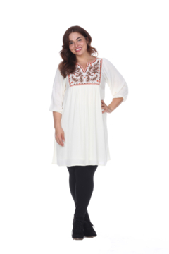 White Mark  Plus Size Embroidered Smock Dress - Alternate List Image