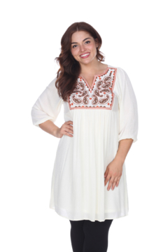 Shoptiques Product: Plus Size White Mark Embroidered Smock Dress
