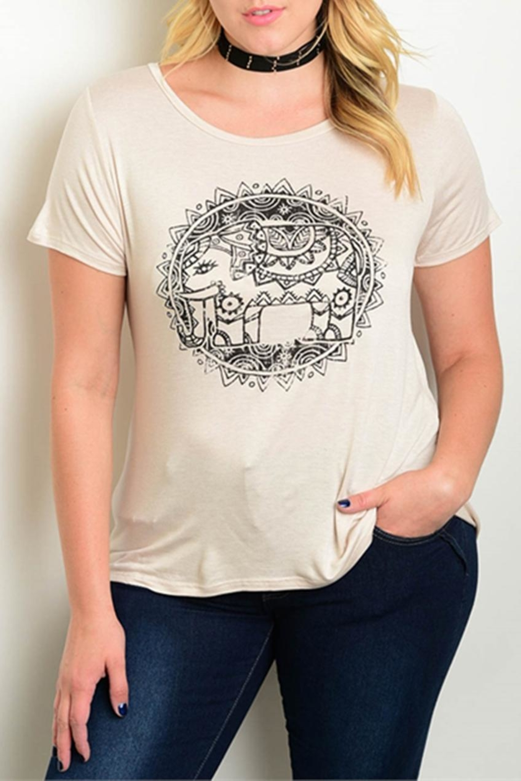 Cozy Casual Plus-Sized Elephant Tee - Front Cropped Image