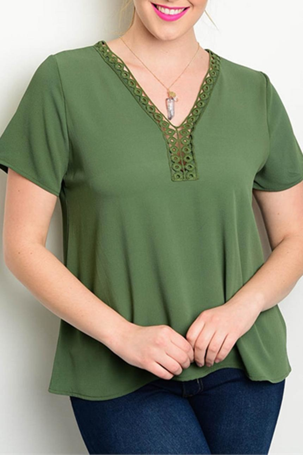 Zenobia Plus-Sized Green Top - Main Image