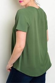 Zenobia Plus-Sized Green Top - Front full body