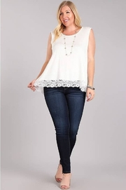 Chris & Carol Plus Sleeveless Lace Bottom Top - Front cropped