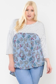 Realize Plus Stripe And Floral Top - Product Mini Image