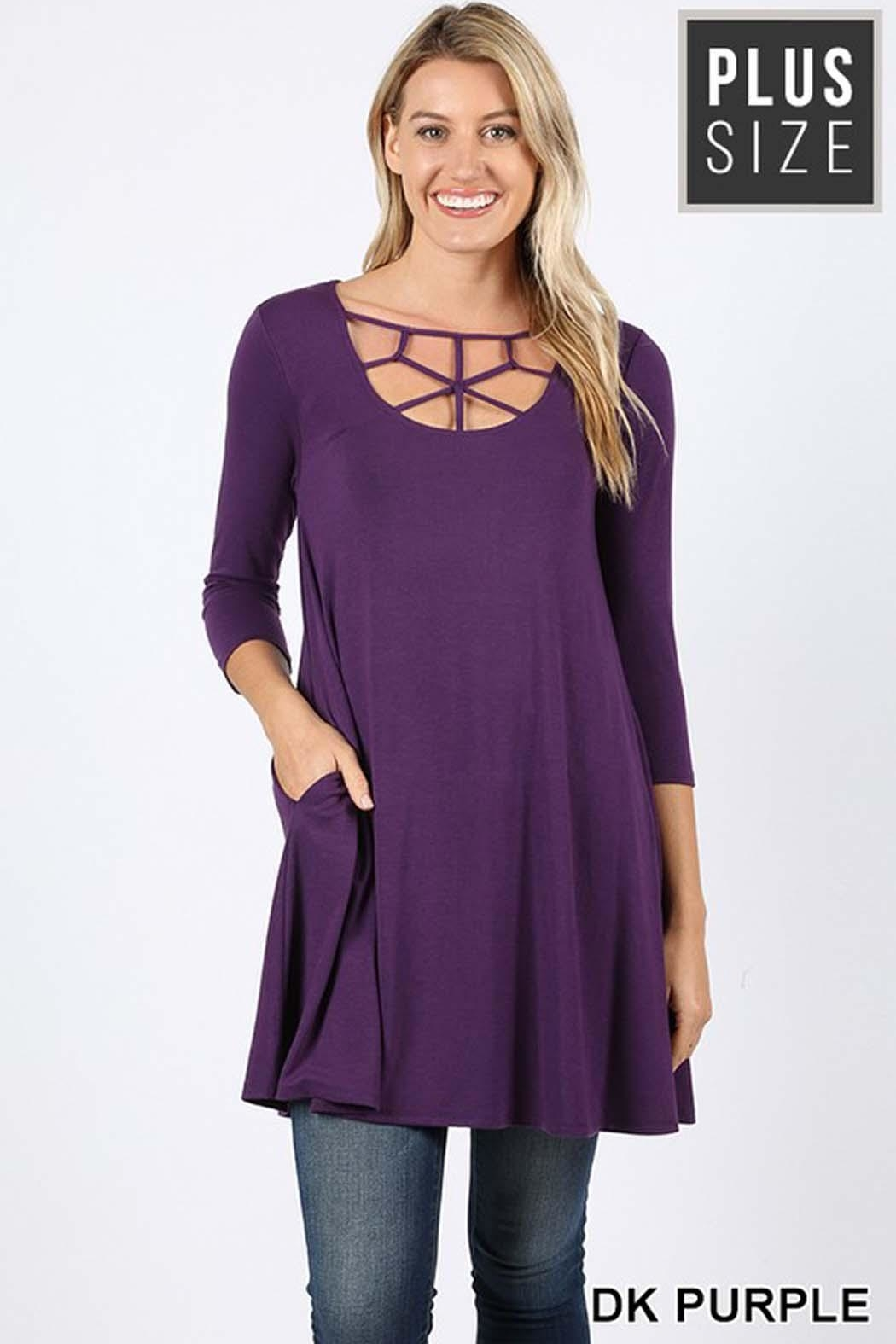 Zenana Outfitters Plus-Web Detail Tunic - Front Cropped Image