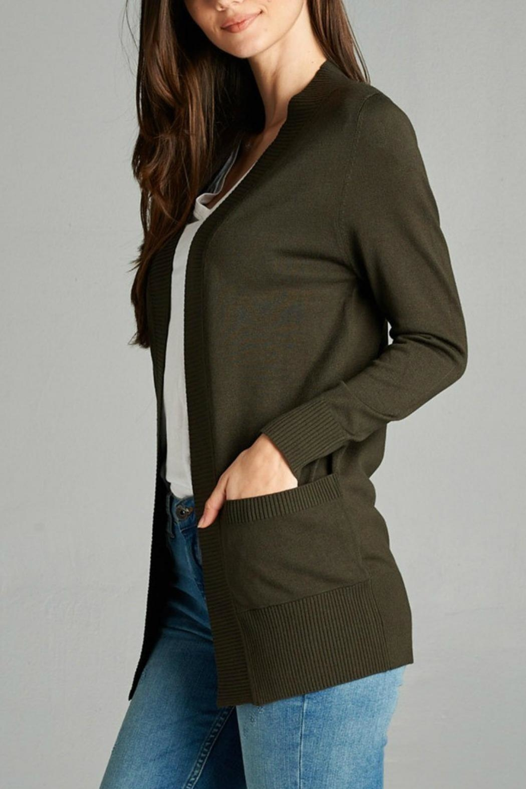 Plus Story Double Pocket Cardigan - Front Cropped Image