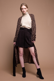 Moon River Pocket Detail Leopard V-Neck Maxi Cardigan - Product Mini Image