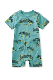 Tea Collection  Pocket Shortie Romper - Coastal Fish - Product Mini Image