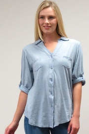 Caite Pocketed Button-Down Blouse - Product Mini Image