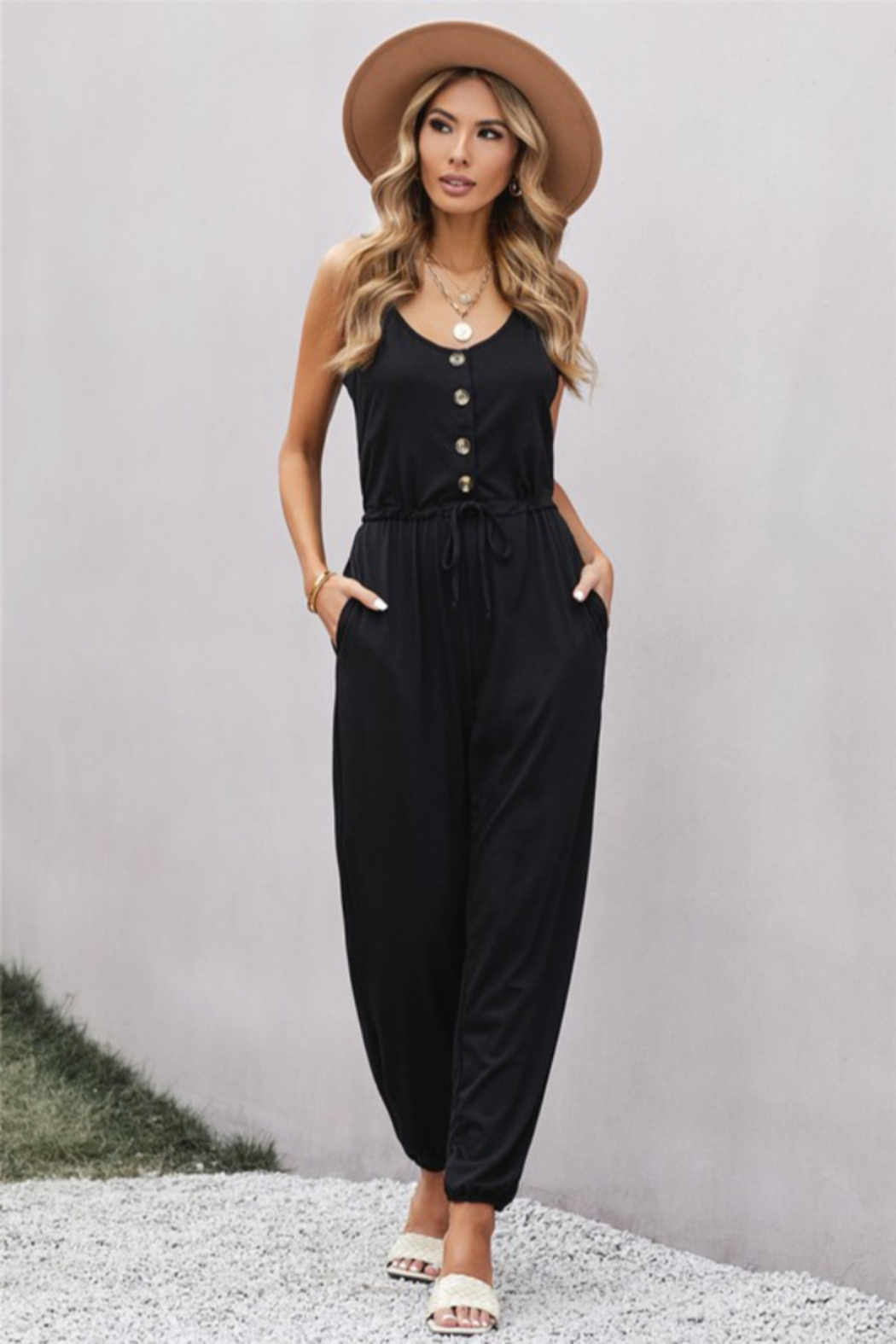 Shewin  Pocketed Knit Jumpsuit - Front Cropped Image