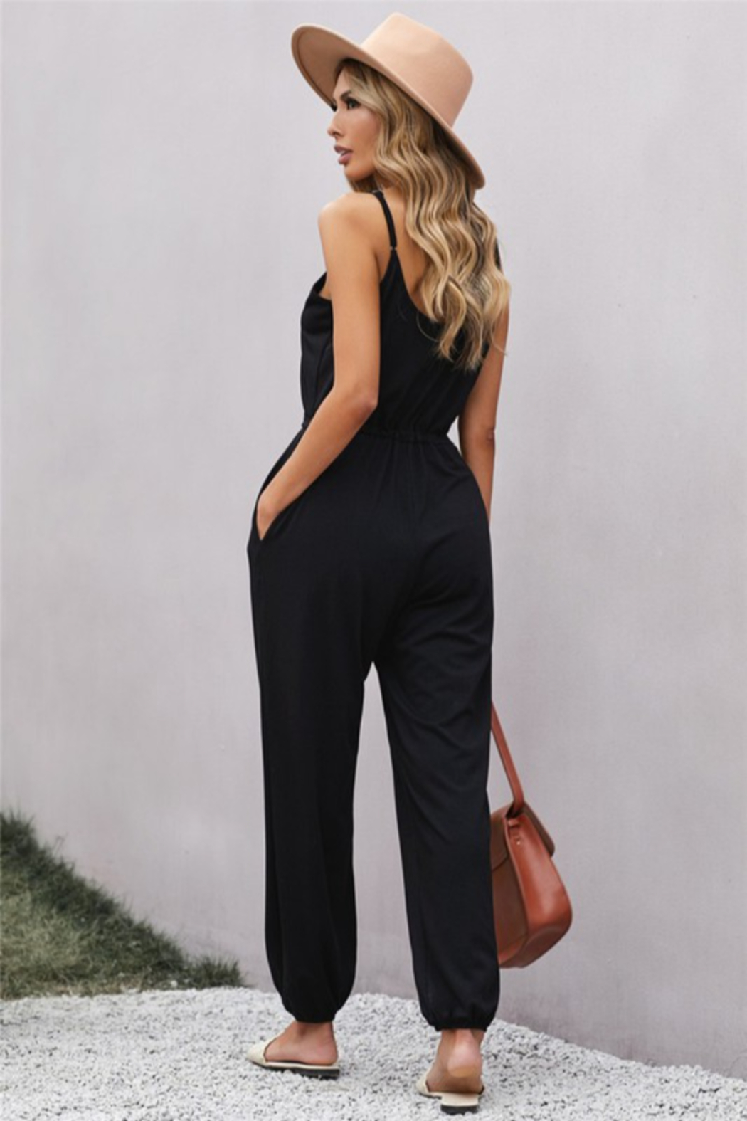 Shewin  Pocketed Knit Jumpsuit - Side Cropped Image