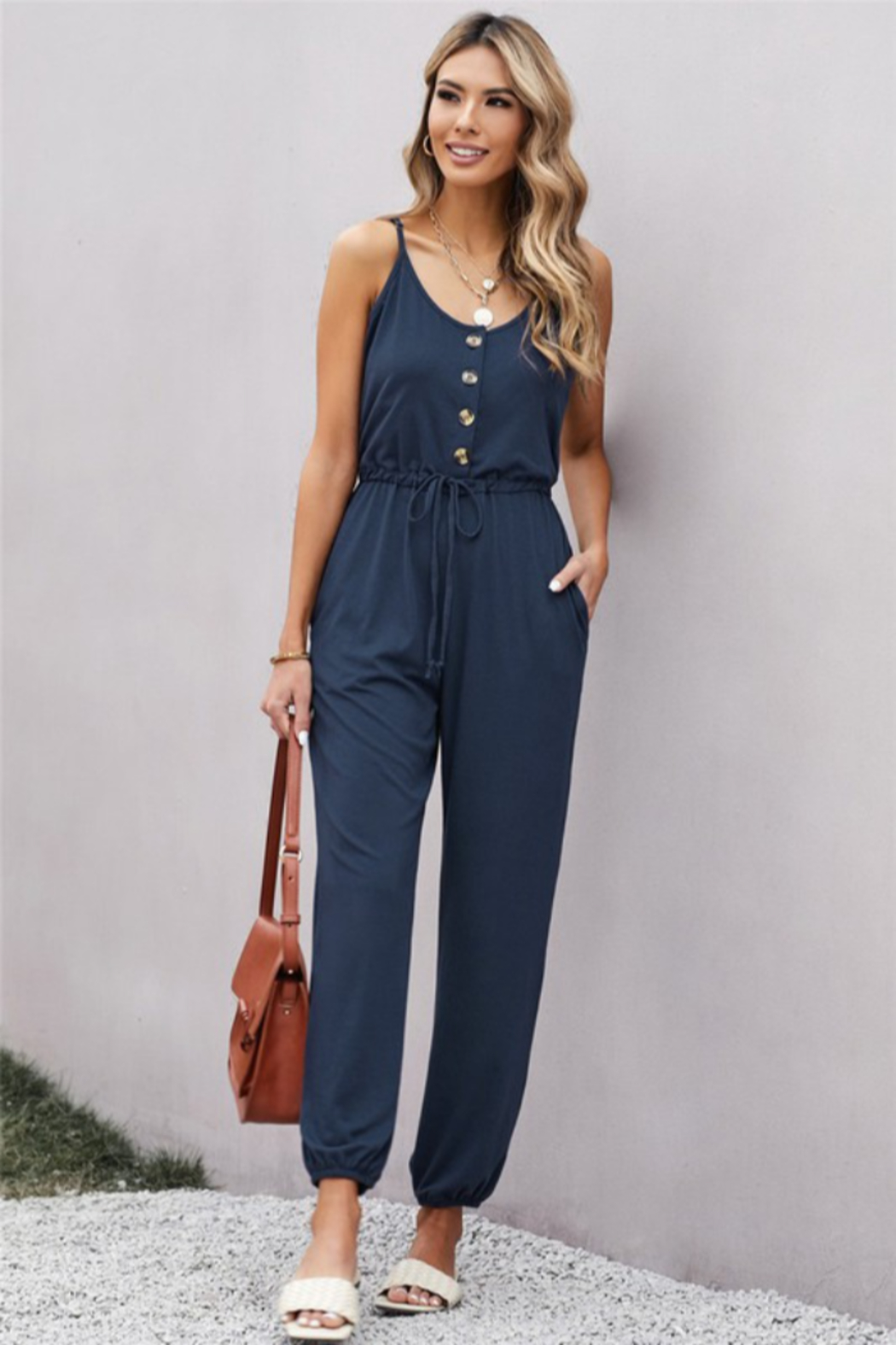 Shewin  Pocketed Knit Jumpsuit - Main Image