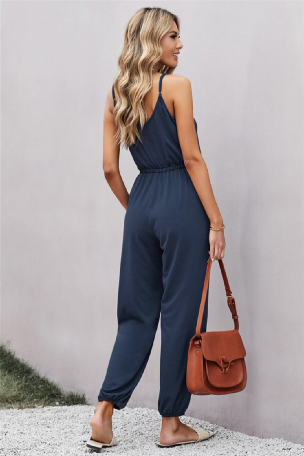 Shewin  Pocketed Knit Jumpsuit - Front Full Image
