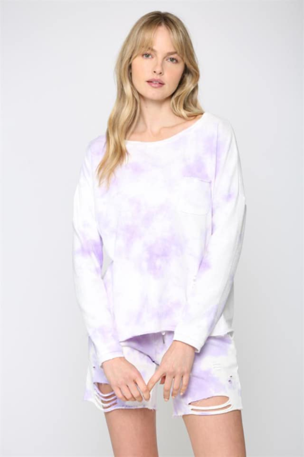 Fate Inc. Pocketed Tie Dye Distressed Top - Main Image