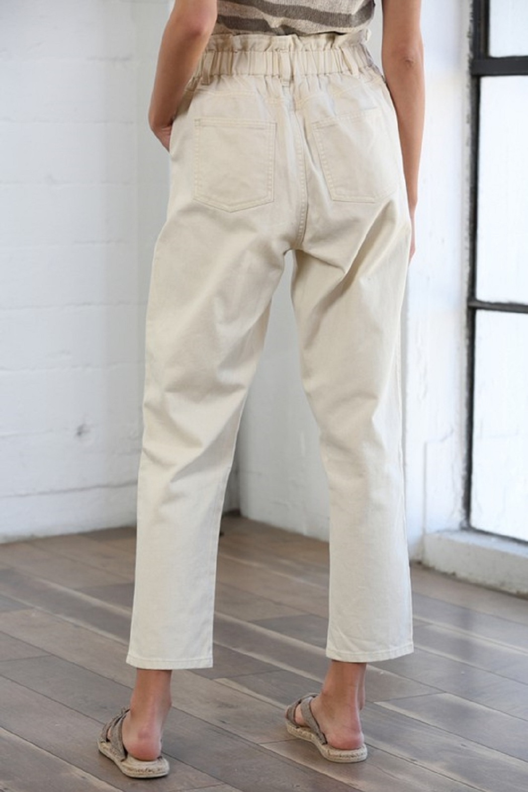 By Together Pocketed Straight Line Pants - Back Cropped Image