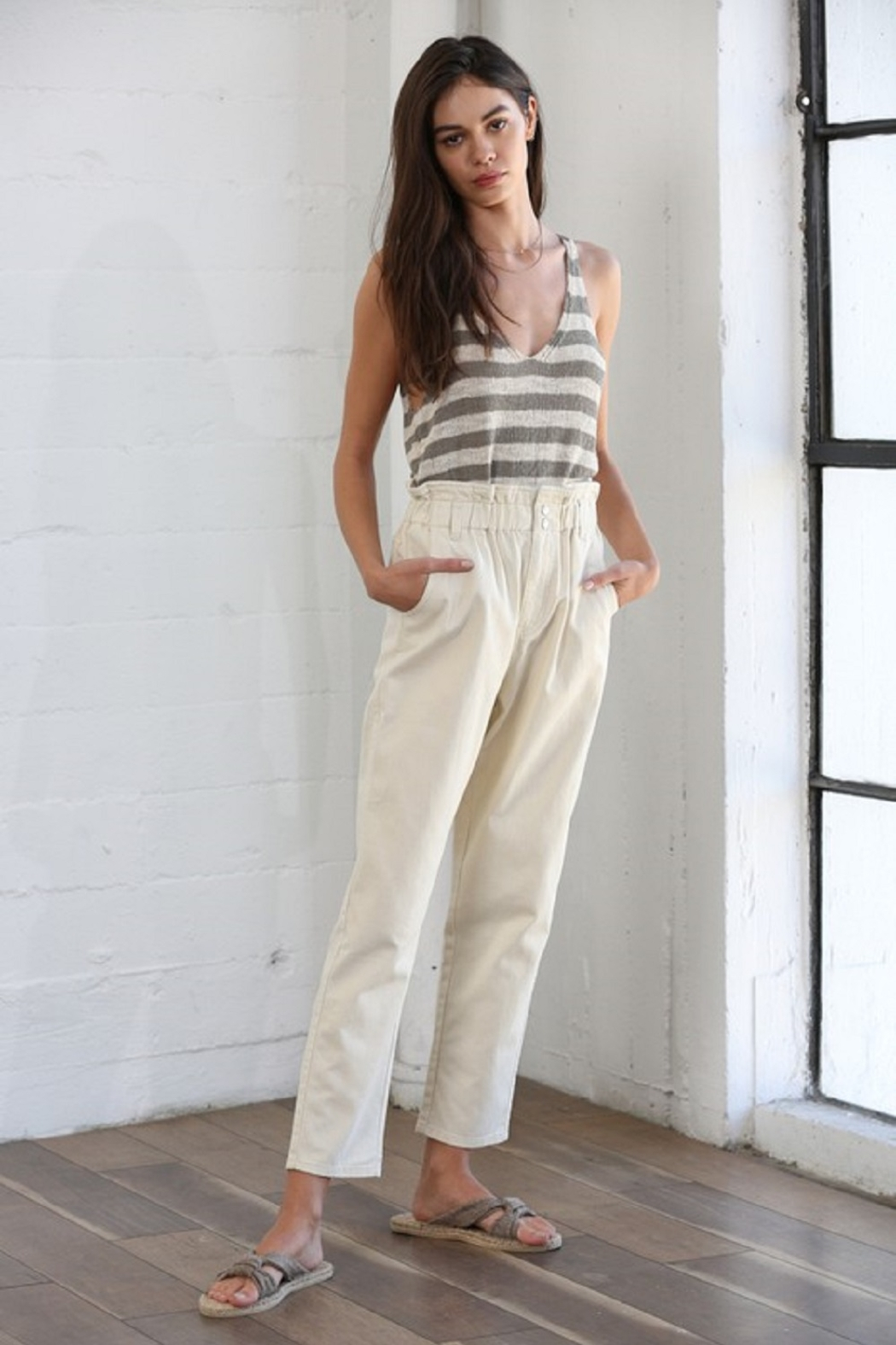 By Together Pocketed Straight Line Pants - Front Full Image