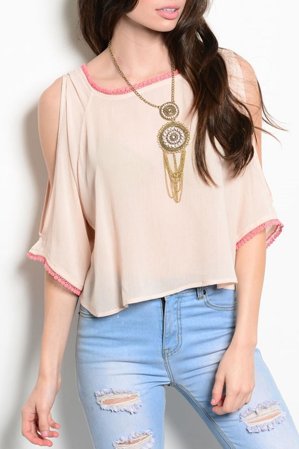 Poema Blush Tassels Top - Front Cropped Image
