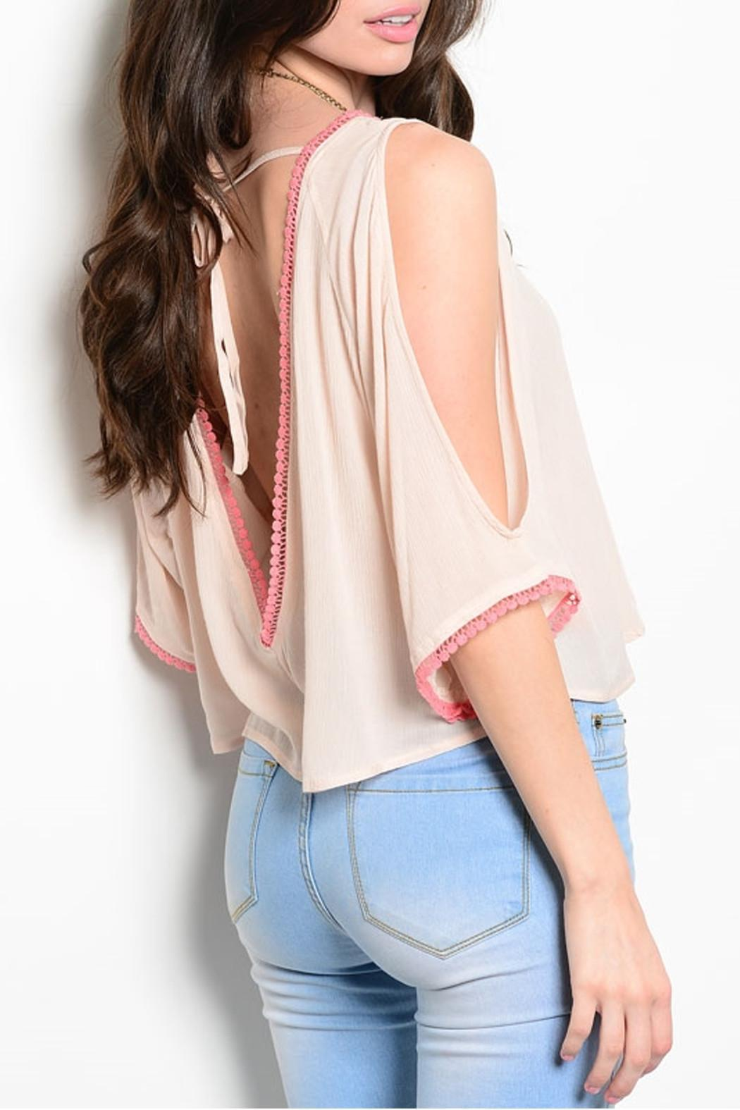 Poema Pink Tassels Top - Front Full Image
