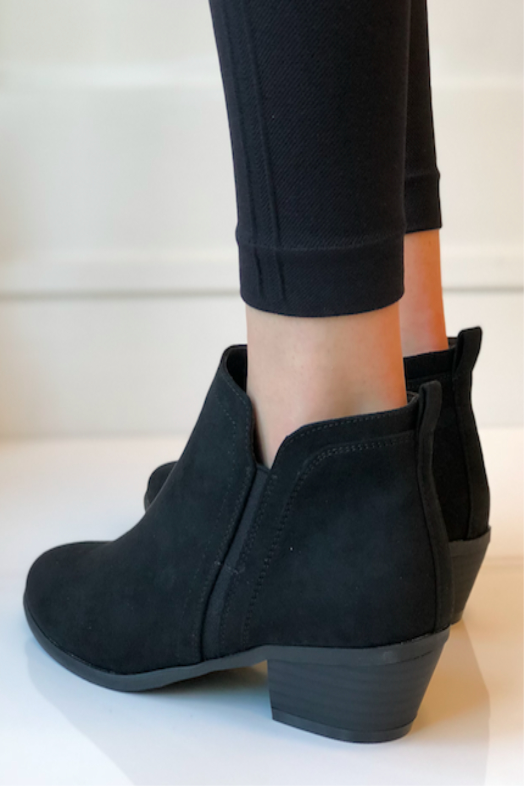 CONSOLIDATED SHOE CO Poet Suede Bootie - Side Cropped Image