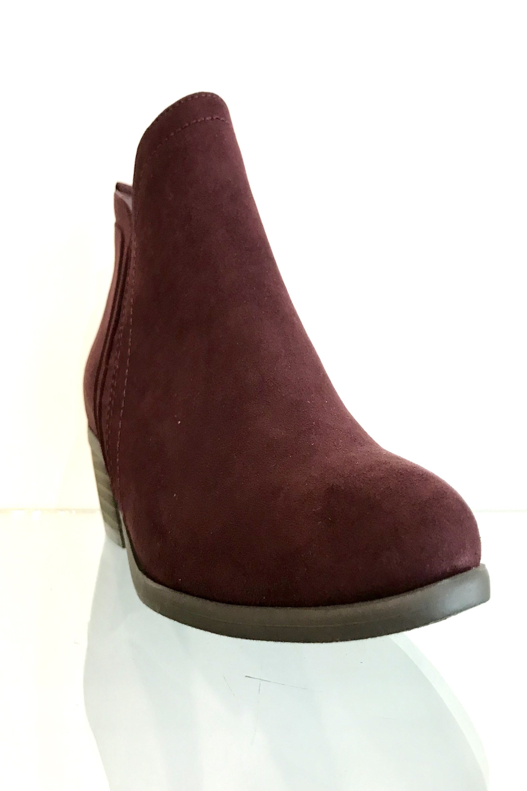 CONSOLIDATED SHOE CO Poet Suede Bootie - Front Full Image