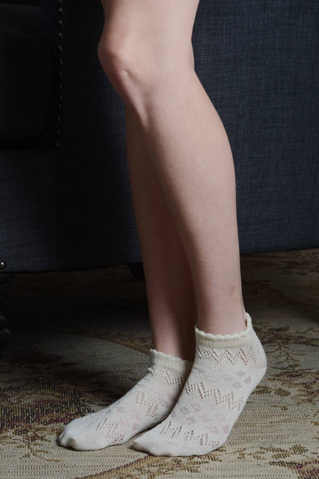 Leto Accessories  Pointelle Ankle Socks - Front Full Image