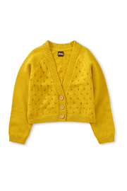 Tea Collection  Pointelle Cardigan - Sulphur - Front cropped