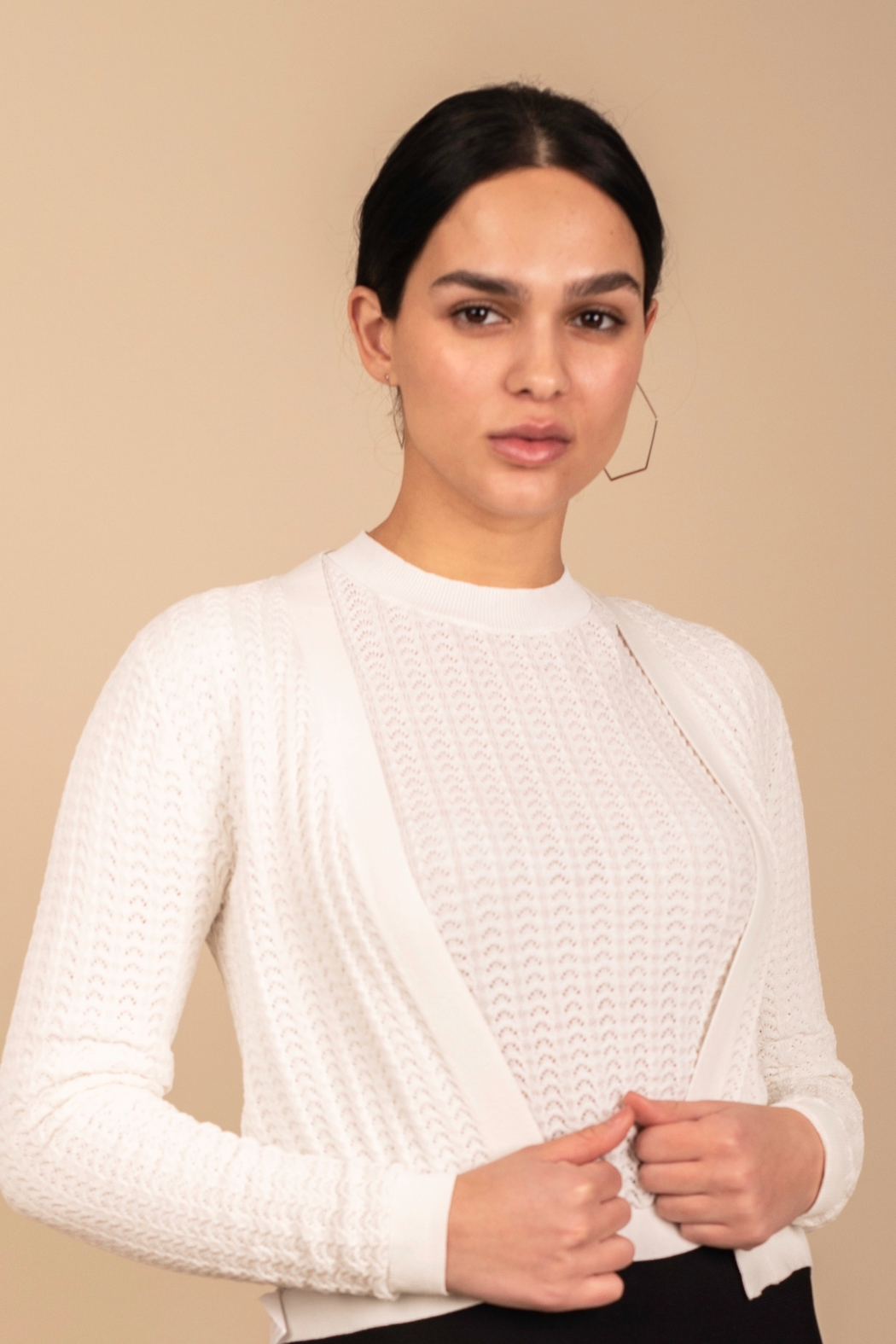 Meli by FAME Pointelle Cardigan - Front Cropped Image