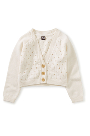 Tea Collection  Pointelle Cardigan - Chalk - Front cropped