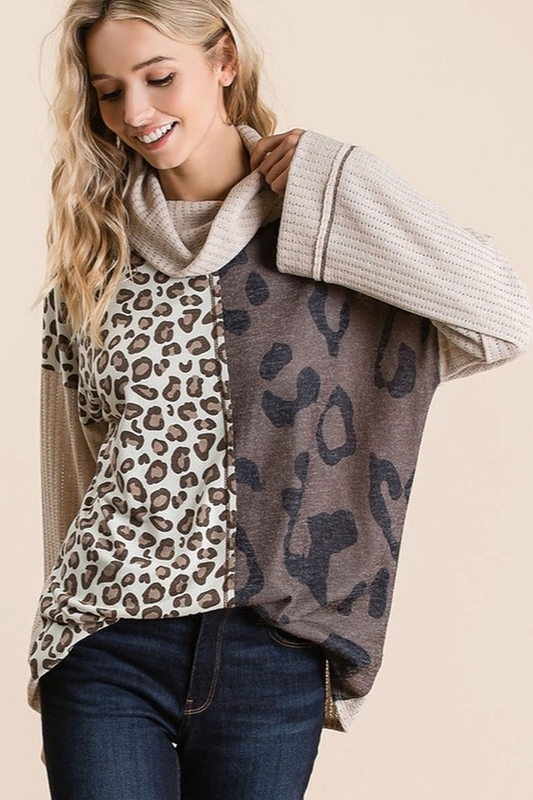 Bibi POINTELLE COWL NECK TOP WITH PRINT BLOCK - Front Full Image