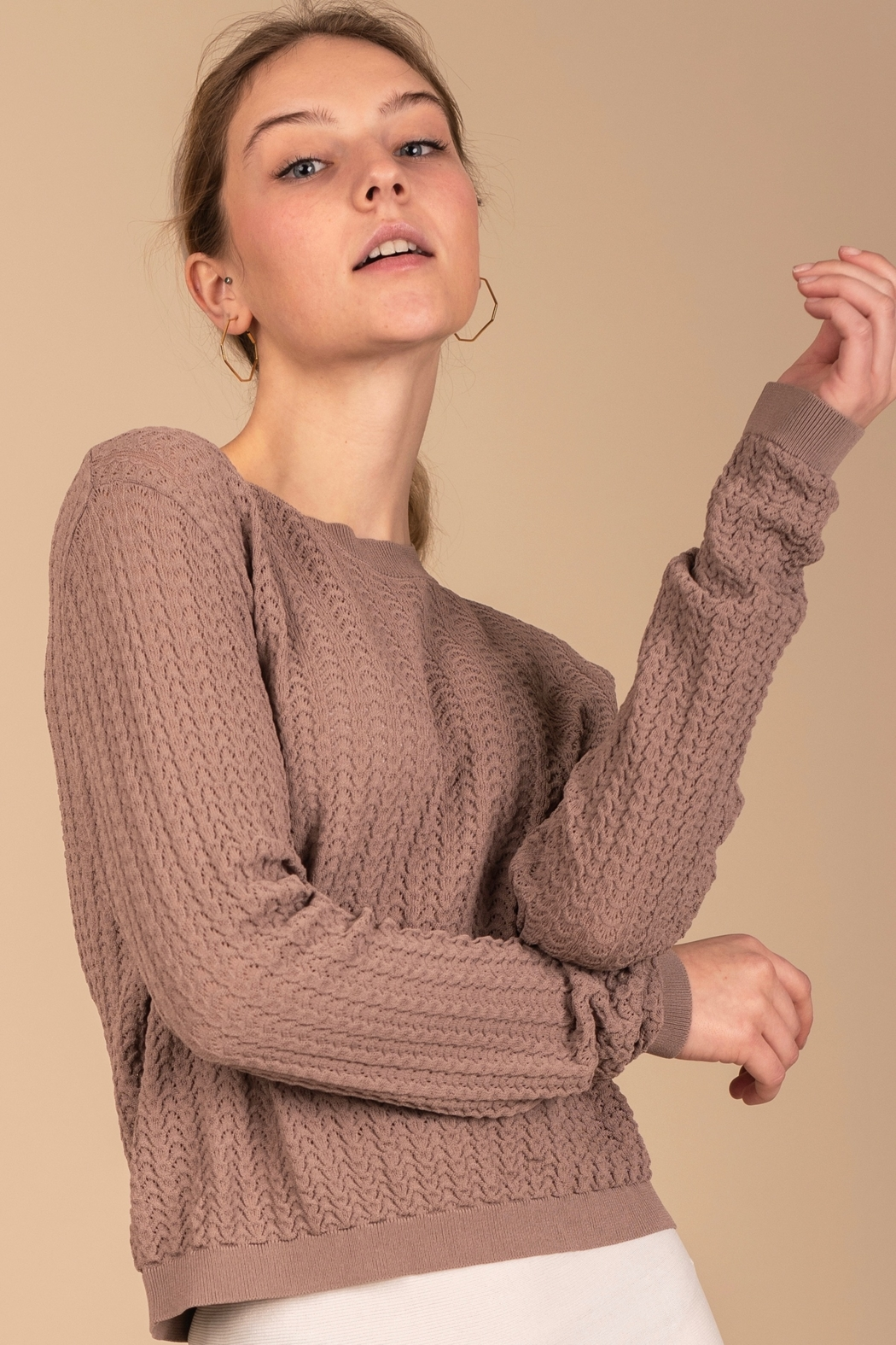Meli by FAME Pointelle Crew - Front Cropped Image