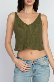 Dreamers Pointelle/crochet style tank - Front cropped