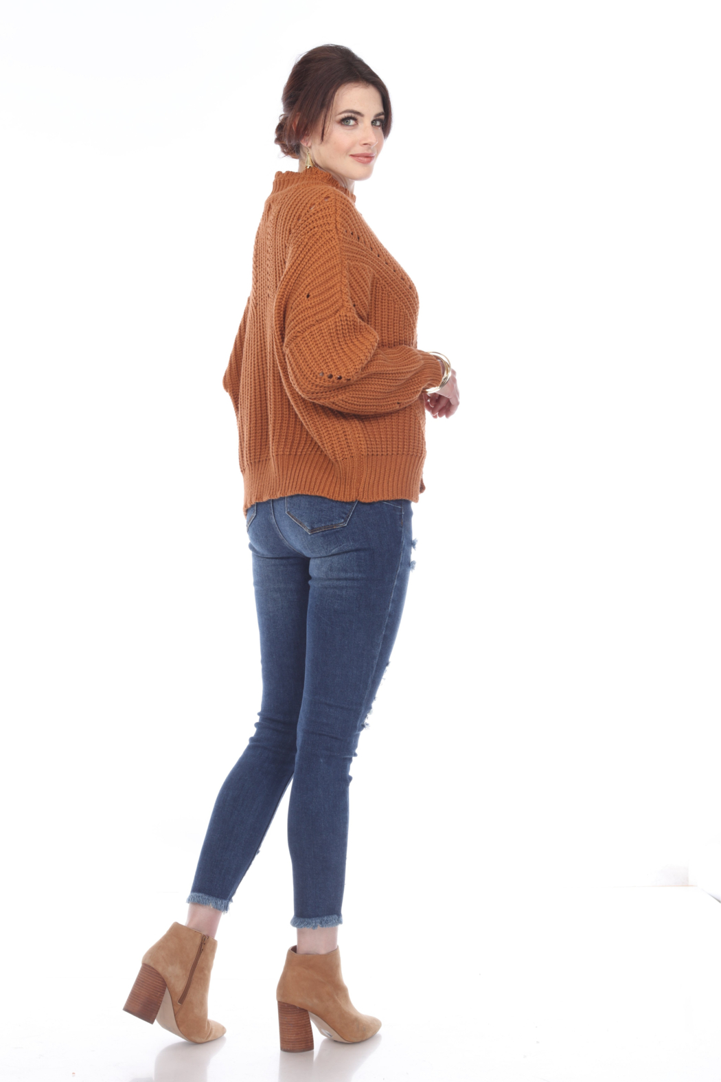 sisters Pointelle Crop Sweater - Back Cropped Image