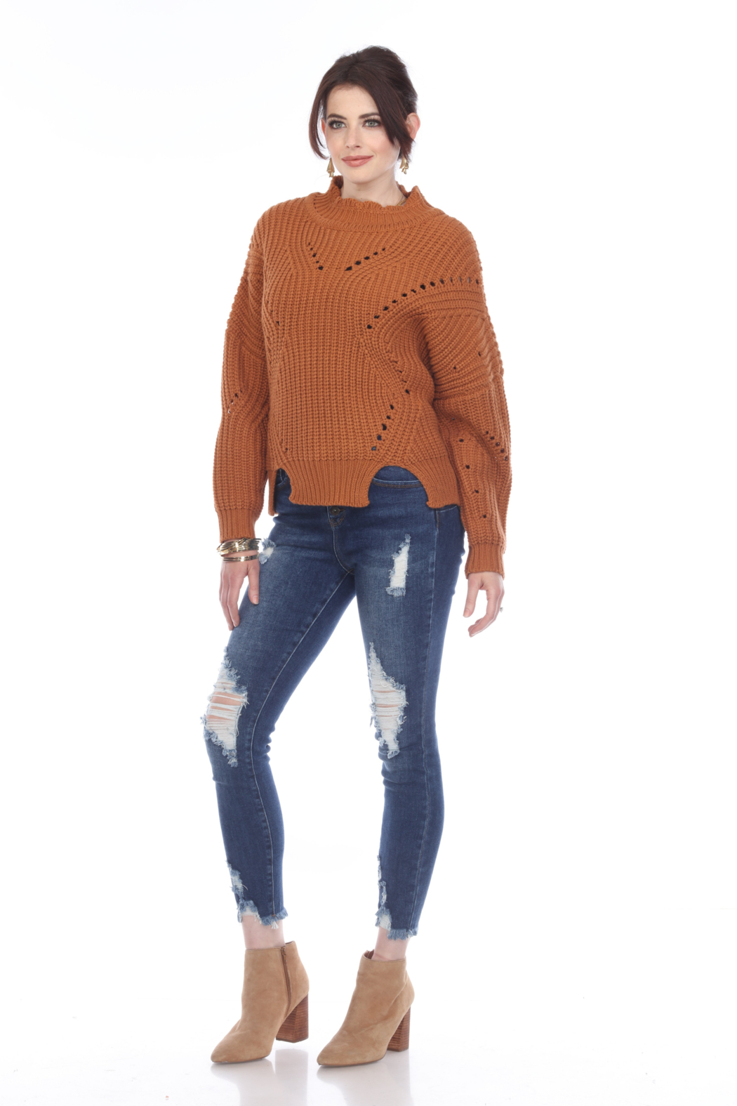 sisters Pointelle Crop Sweater - Side Cropped Image