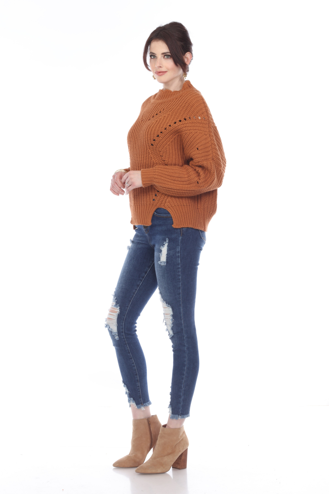 sisters Pointelle Crop Sweater - Front Full Image