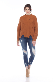 sisters Pointelle Crop Sweater - Front cropped