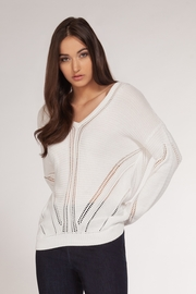 Dex Pointelle Detail V-Neck Sweater - Front cropped