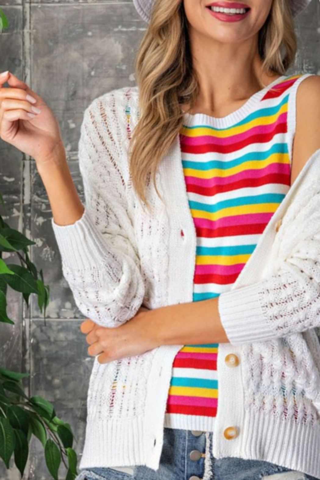 eesome Pointelle Knit Cardigan - Front Cropped Image