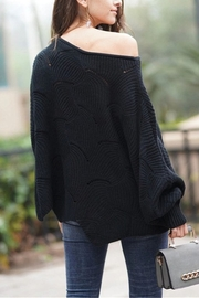 Esley Pointelle Scallop Sweater - Front full body