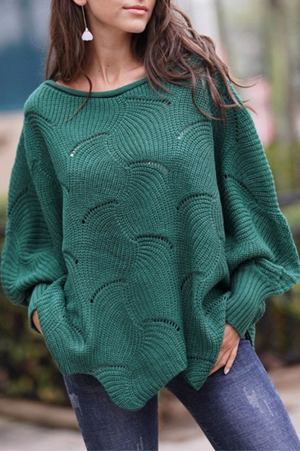 Esley Pointelle Scallop Sweater - Front Cropped Image
