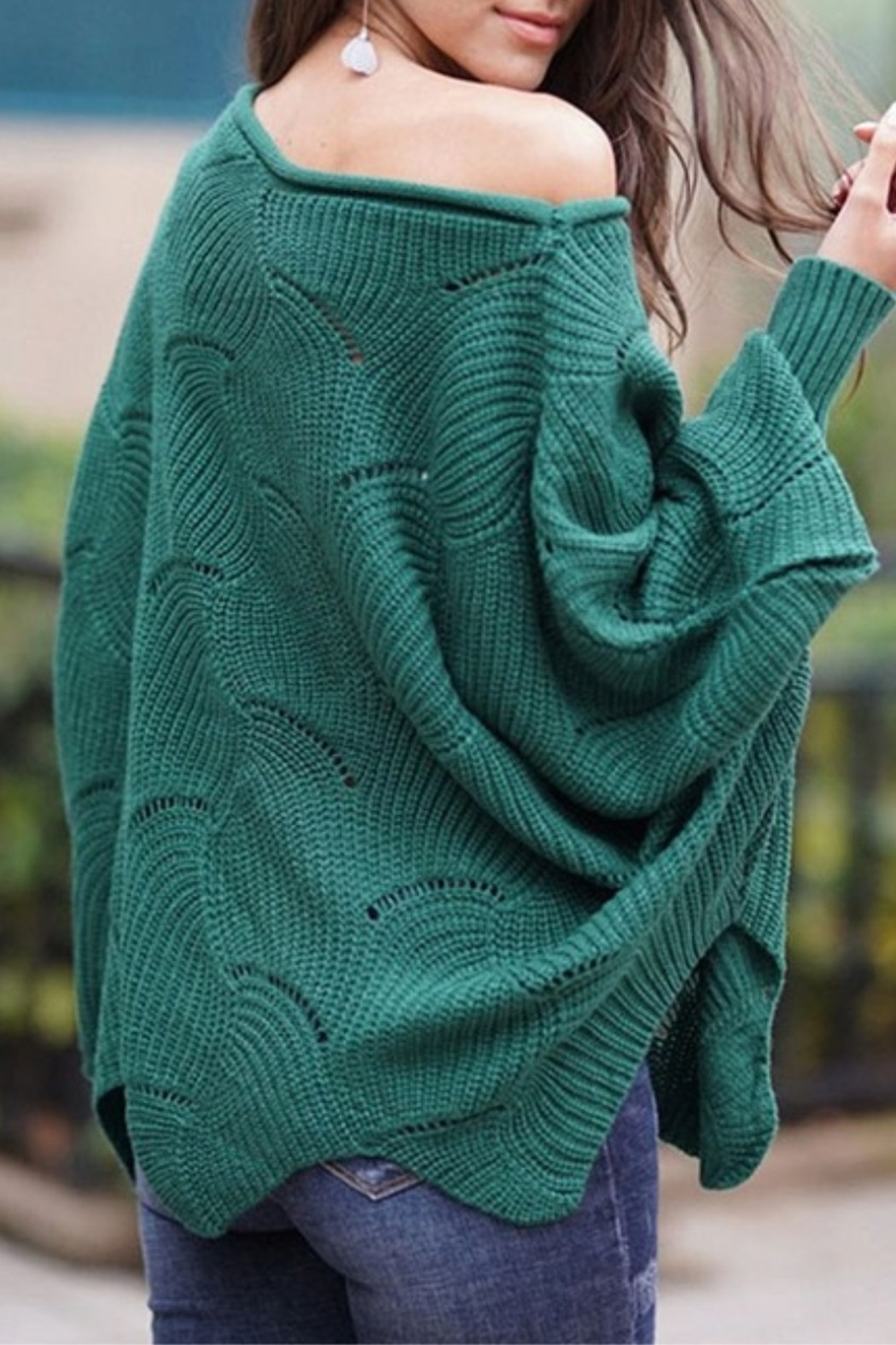 Esley Pointelle Scallop Sweater - Front Full Image
