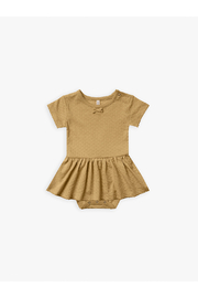 Quincy Mae Pointelle Skirted Onesie - Gold - Product Mini Image