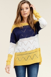 Staccato Pointelle Striped Sweater - Product Mini Image