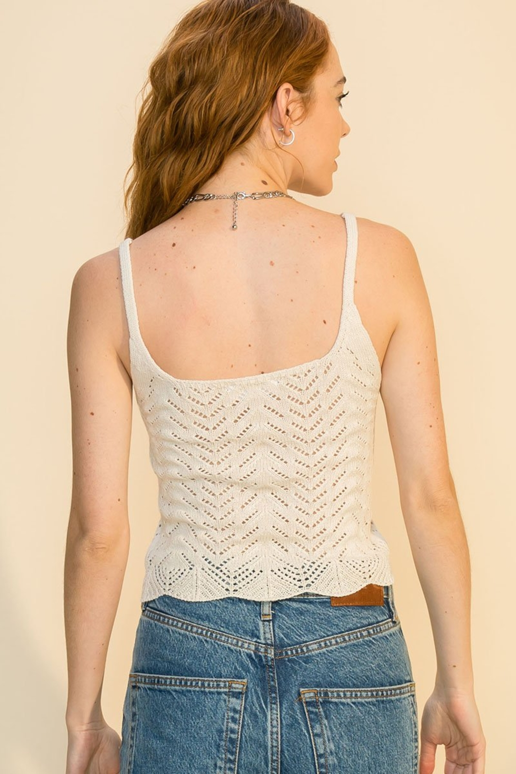 Double Zero Pointelle Sweater Cami - Side Cropped Image