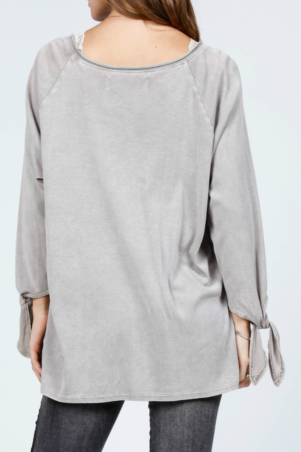 M-Rena  Pointelle sweater top - Front Full Image